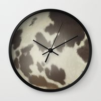 cow Wall Clocks featuring Cow by Eva Nev