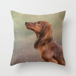 Dog breed long haired dachshund portrait oil painting Throw Pillow