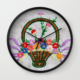Flower Basket Embroidery Wall Clock
