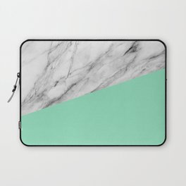 Carrara Marble and Sea Color Laptop Sleeve