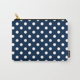Small Polka Dots - White on Oxford Blue Carry-All Pouch