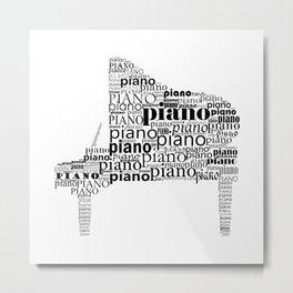 Typographic Piano Metal Print