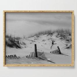 Buried Fences - Coastal Landscape Photo Black and White Serving Tray