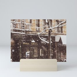 Avenue A in a snow storm.  East Village. New York. USA Mini Art Print