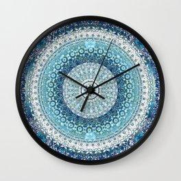 Teal Tapestry Mandala Wall Clock