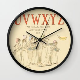 Alphabet - Children in the morning. Wall Clock