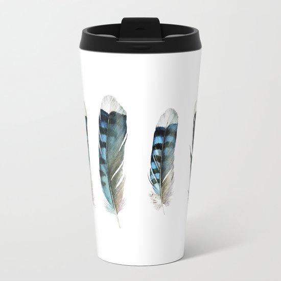Blue Jay Feather Group Metal Travel Mug