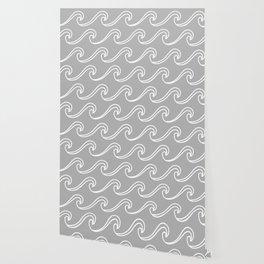Rough Sea Pattern - Light Grey Wallpaper