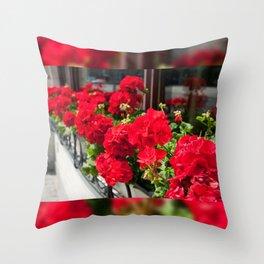 Bunches of vibrant red Pelargonium Throw Pillow