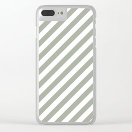 Desert Sage Grey Green Candy Cane Stripes Clear iPhone Case
