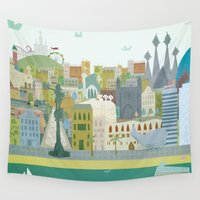 barcelona Wall Tapestries featuring Barcelona by LaPendeja