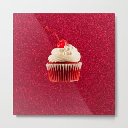 Cupcake Love - Red Velvet on Red Sparkles Metal Print