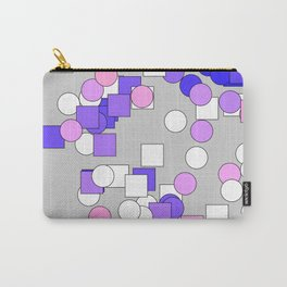 Multi-colored squares and circles blue and purple Carry-All Pouch