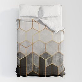 Charcoal Hexagons Bettbezug