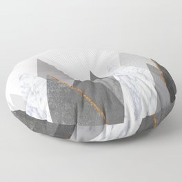 Marble Gray Copper Black and White Mountains Floor Pillow