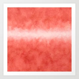 Bursting with Love - Living Coral Stripe Abstract Art Print