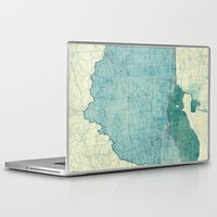 ohio state Laptop & iPad Skins featuring Ohio State Map Blue Vintage by City Art Posters