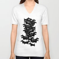 terrier V-neck T-shirts featuring Scottish Terrier by mailboxdisco