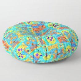 Abstract Patchwork Pixelquilt Floor Pillow