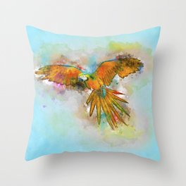 High as a Macaw Throw Pillow