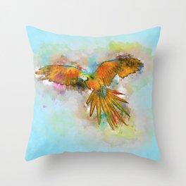 High as a Macaw Throw Pillow