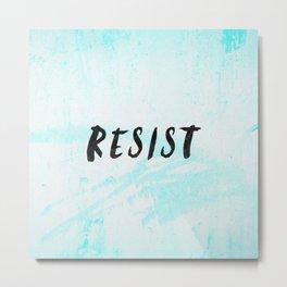 RESIST 5.0 - Black on Teal #resistance Metal Print