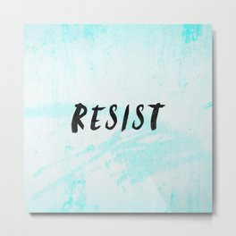RESIST 5.0 - Black on Teal #resistance Metal Print
