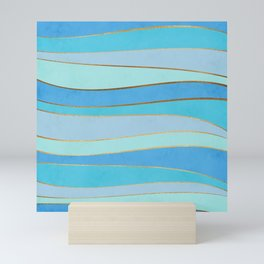 Waves Pattern - Golden Glitter Mini Art Print