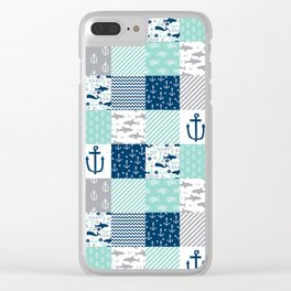 Nautical anchors sharks whales quilt cheater quilt nursery pattern art Clear iPhone Case
