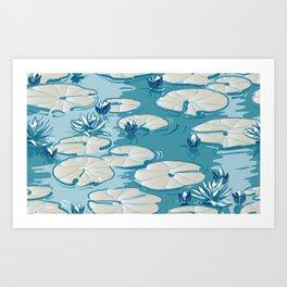 Monets Waterlily Pattern — Teal Art Print