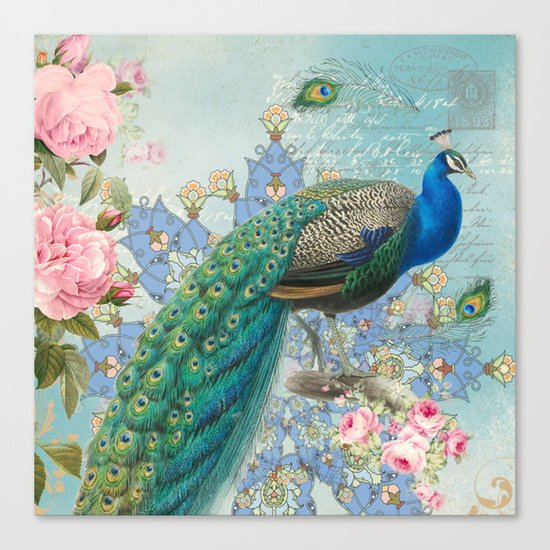 Peacock & Pink Roses #2 Canvas Print