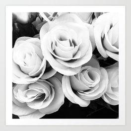 Ivory and Ebony Elegant Bridal Rose Bouquet Art Print