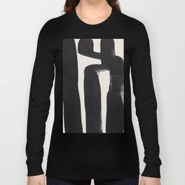 Mid Century Modern Minimalist Abstract Art Brush Strokes Black & White Ink Art Ancient Stripes Long Sleeve T-shirt