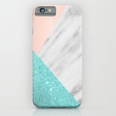 Real Italian Marble with Pink and Blue iPhone 6 Slim Case