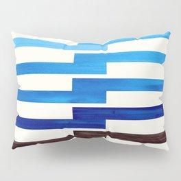 prussian blue watercolor painting geometric zigzag pattern lightning bolt Pillow Sham