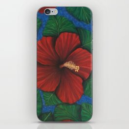 Tropical Hibiscus in Red island art painting iPhone Skin