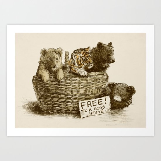 Lions and Tigers and Bears Art Print