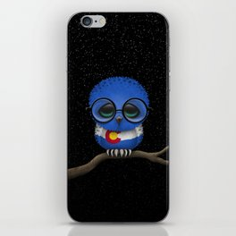 Baby Owl with Glasses and Colorado Flag iPhone Skin