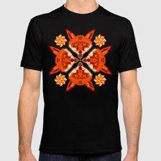 Fox Cross geometric pattern Black Mens Fitted Tee LARGE