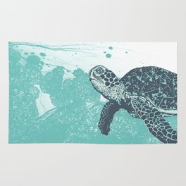 Sea Foam Sea Turtle Rug