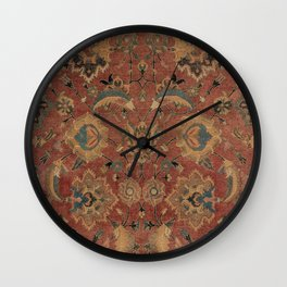 Flowery Boho Rug IV // 17th Century Distressed Colorful Red Navy Blue Burlap Tan Ornate Accent Patte Wall Clock
