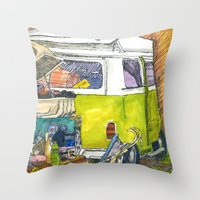 vw bus Throw Pillows featuring VW Bus Campsite by Barb Laskey Studio