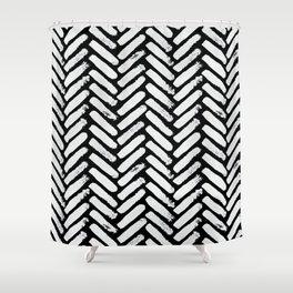Painterly Herringbone Shower Curtain