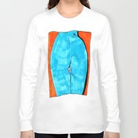butt Long Sleeve T-shirts featuring blue butt by withapencilinhand