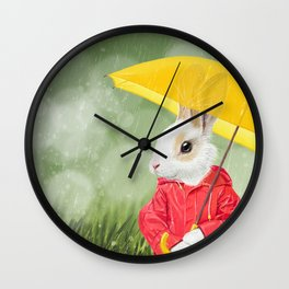 It's raining, little bunny! Wall Clock