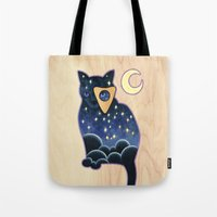ouija Tote Bags featuring Ouija Cat by Kiki Stardust