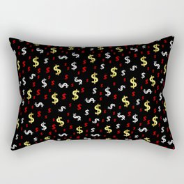 golden,silver,red,black pattern dollar symbol Rectangular Pillow