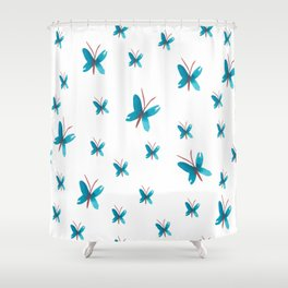 Fluttering Butterflies, Blue Shower Curtain
