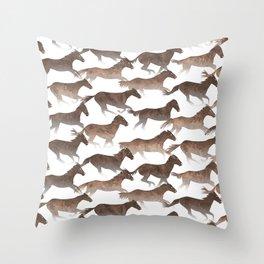 Running Watercolor Horses Brown Throw Pillow