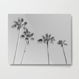 Black Palms // Monotone Gray Beach Photography Vintage Palm Tree Surfer Vibes Home Decor Metal Print
